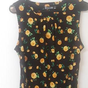 NY & Co.  Yellow roses career tank top
